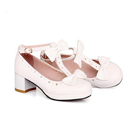 1to9 Dames Bowknot Laag Uitgesneden Bovenwerk Kitten-hakken Zacht Materiaal Pumps-schoenen Wit