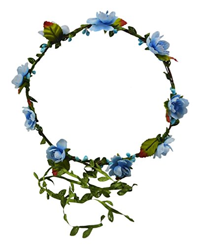 Hippie 2 Piece Headband (Floral Fall Beach Flower Crown Hair Wearth Headbands with Lovely Tail F-02)