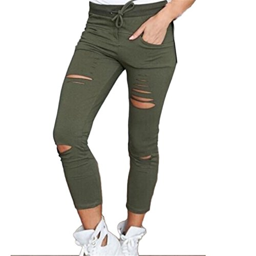 Slim Skinny Ripped Pants Lady High Waist Stretch Pencil Trousers Hot