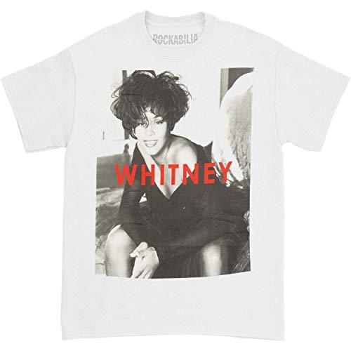 (Whitney Houston Men's B&W Portrait T-Shirt Small White )