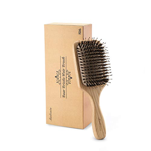 Boar Bristle Wooden Hair Brush [FDA Approved] for Women and Men With Fine, Thick, Wavy, Curly, Frizzy Hair. Non Static Scalp Massage Detangling Paddle Design Hairbrush. Packed in a Wooden Gift Box.