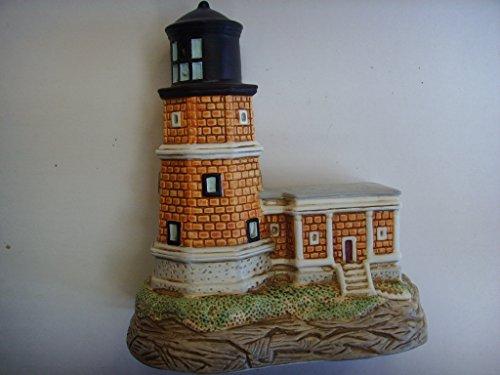 "George Z Lefton Vintage Split Rock Lighthouse Music Box 5.5"" Porcelain Collectible ; ""Ebb Tide"""