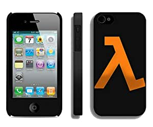 Beautiful And Unique Designed Case For iPhone 4 With Halflife Emblem Orange Background Black Phone Case