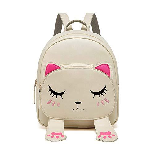 Sleema Fashion Cute Small Cat Style Backpack for Girls (Cute Cream Backpack)