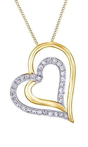 Jewel Zone US 1/4 Ct Natural Diamond Double Heart Pendant Necklace in 14k Yellow Gold Over Sterling Silver ()