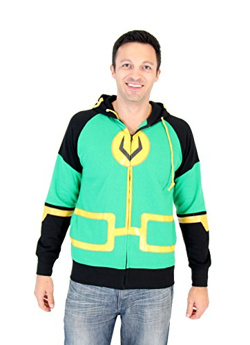 [Marvel Kid Loki Symbol Adult Zip Up Costume Hoodie (Adult XX-Large)] (Loki Costume)