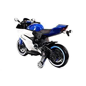 Moderno Kids Motorcycle for Children Ride On Powered Wheels W/ 12 Volt of Power, Leather Seat, Mp3, LED Lights (Blue)