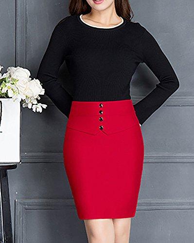 en Jacquard Jupe de Femme Jupe Robe Droite Crayon pour Serre Bureau Rouge xwrgaxv