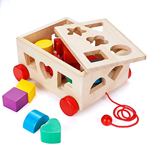 OSPORTFUN Kids Car Shape Sorter Toys Puzzle Baby Educational Wooden Toy Colorful Children's Building Blocks, Ages 12 Months and Up