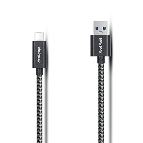 Nekteck USB Type C Cable, Nylon Braided USB 3.1 USB-C to USB 3.0 Type a Male Data and Charging Cord with 56K Ohm Resistor 2 m/6.6