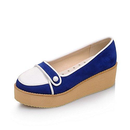 Amoonyfashion Kvinna Mjukt Material Rund Sluten Tå Kattunge Klackar Diverse Färg Pumpar-shoes Blå