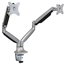 """Mount-It! Dual Monitor Desk Mount, Height Adjustable Gas Spring Arms, VESA Compatible and Fits 13-32"""" Screens up to 20 Pounds"""