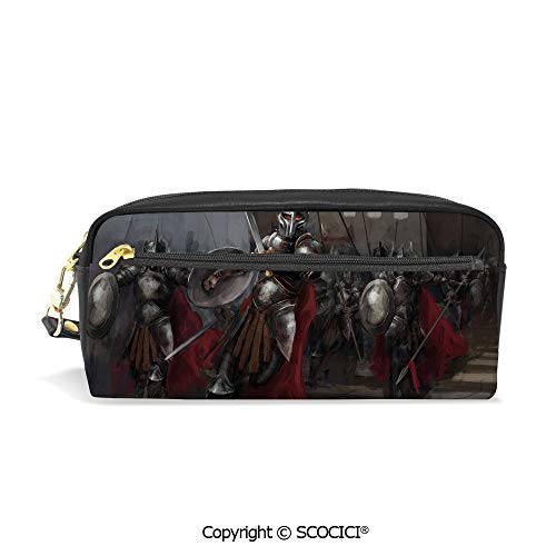 Printed Pencil Case Large Capacity Pen Bag Makeup Bag General Leading His Soldiers War Scene Knighthood Middle Ages Valor Bravery Decorative for School Office Work College Travel