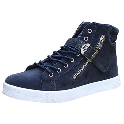Sneakers Grand wealsex Taille Montantes Suede Fermeture 45 Homme Confort Basket Mode Bleu Hautes Chaussure 46 Casual Eclair Boucle Lacets 47 qqg68rn