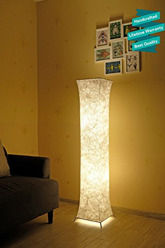 Marble Column Lamp - 52'' LED Floor Lamp & 2 Light Bulbs,Contemporary Roman Columns Standing Floor Lamps for Living Room Bedroom Warm Atmosphere(Tyvek Dupont 10 x 10 x 52 inch)