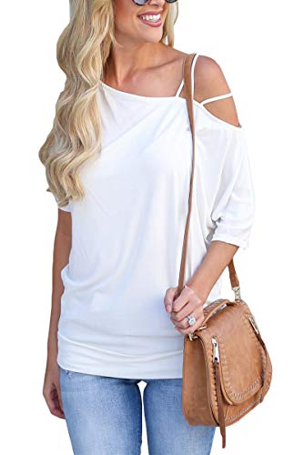 Unidear Womens One Off Shoulder Short Sleeve Tops Tunic T Shirts Blouses White ()