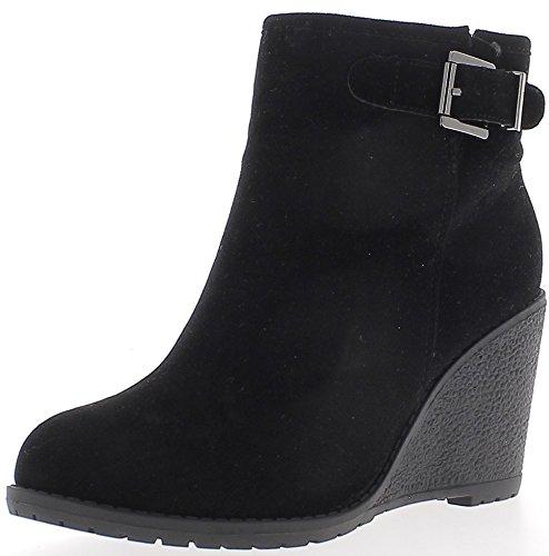 ChaussMoi Black Boots Wedge Heel Rubber 8 cm Look Filled Suede 6MfBa13bp