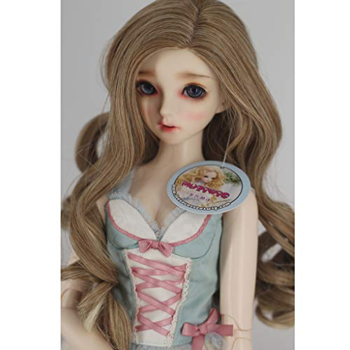 Prettyia Sweet 1/3 BJD Dolls Wave Wig Super Dollfie Wig Curly Long Hair -