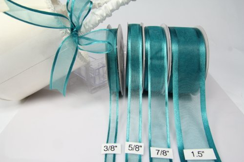 Amorecreations - Teal Organza Ribbon with Satin Edge-25 Yards X 3/8 Inches