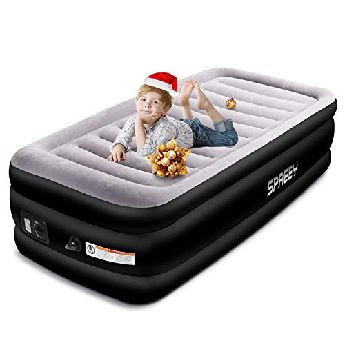 SPREEY Air Mattress Air Bed & Built-in Electric Pump, Twin Inflatable Mattress Bed Soft Flocking Layer with Portable Storage Bag, Black Twin (77 x 38 x 20 ()