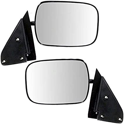 Manual Side View Mirrors Black Left /& Right Pair Set for Chevy GMC Pickup Truck