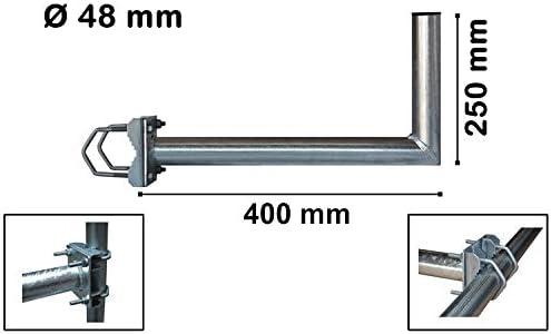 PremiumX 25cm Balkonausleger Gel/änderhalterung Balkonhalter Satelliten-Antenne Mast-Ausleger Halterung f/ür Satellitensch/üssel SAT-Spiegel Stahl verzinkt