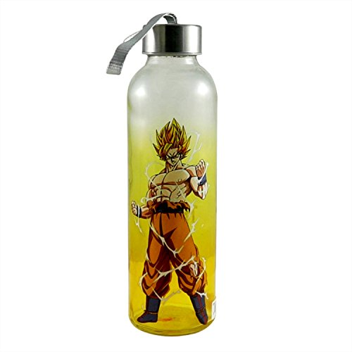 JUST FUNKY Dragon Ball Z Official Super Saiyan Goku Premium Yellow School and Office Water Bottle, Novelty Gift