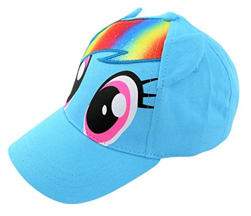 Hasbro Little Girls Pony Character Cotton Baseball Cap, Light Blue, Ages 4-7 -