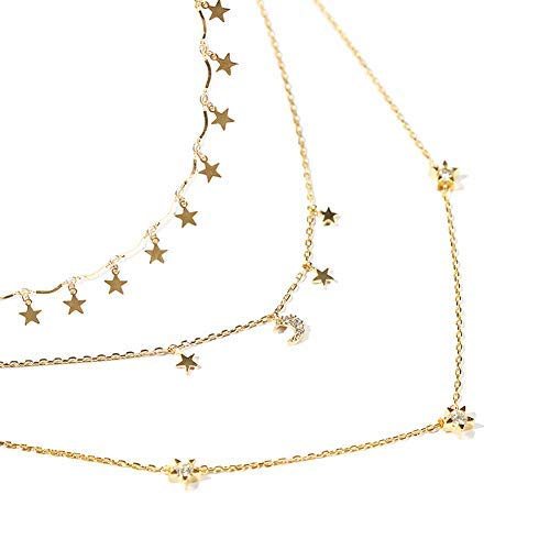 Sting 3 Pcs Gold Lucky Star Choker Necklace Pendant Set Disc Chain Clavicle Necklace Jewelry for Women,Girls(Gold,Pack of 3)