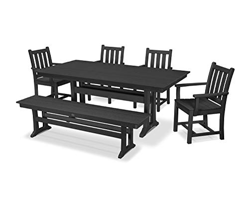 (POLYWOOD Traditional Garden 6-Piece Farmhouse Dining Set with Bench (Black))