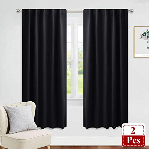 PONY DANCE Black Out Window Curtains - Thermal Blackout Curtain Drapes Set Shades Back Tab & Rod Pocket Panels Privacy Protect for Living Room, 42-inch Wide by 72-inch Long, Black, 2 Pieces