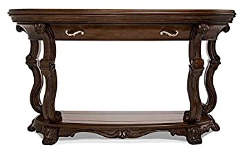1PerfectChoice Hardwood Carvings Espresso Finish Glass Inserts Top Console Table