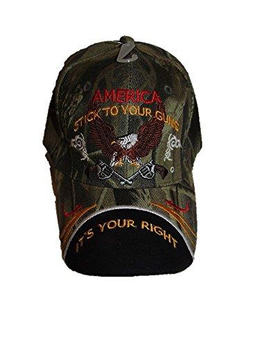 2nd Amendment America Stick to your Guns It's your right NRA Camo Black Cap Hat Wholesale Cap Guns