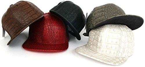 sujii CROCODILE Faux Leather Hip Hop Boys Snapback Hat Trucker Cap White