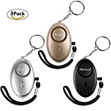 Dulzod Personal Alarm, 140dB Emergency Alarm Keychain with LED Flashlight,2018 Version Self Defense Security Weapons for Women, Kids, Students and Night Workers (Gold&Silver&Black)