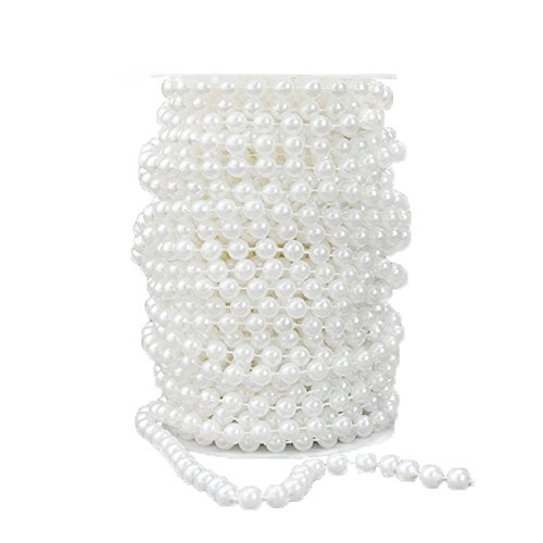 BoJia Wedding 10 mm Large Pearls Faux Crystal Beads by The Roll - White ()