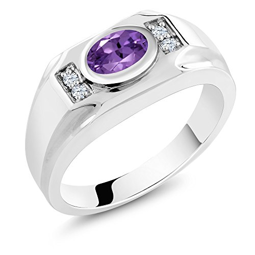 Sterling Silver Oval Genuine Purple Amethyst & White Created Sapphire Men's Ring (1.26 cttw, Available in size 9, 10, 11, 12, 13)