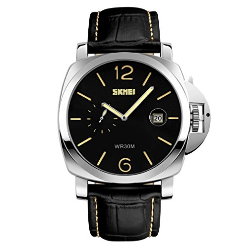 Fanmis Silver Stainless Quartz Leather