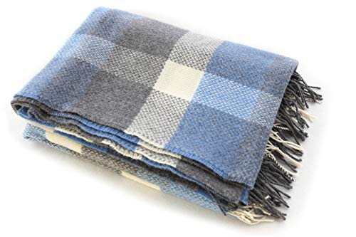 Biddy Murphy Plaid Wool Blanket 95% Merino Wool & 5% Cashmere Supersoft Warm Throw Blanket 71 Inches Long x 54 Inches Wide Fringed Blue & Grey Plaid Made in Ireland