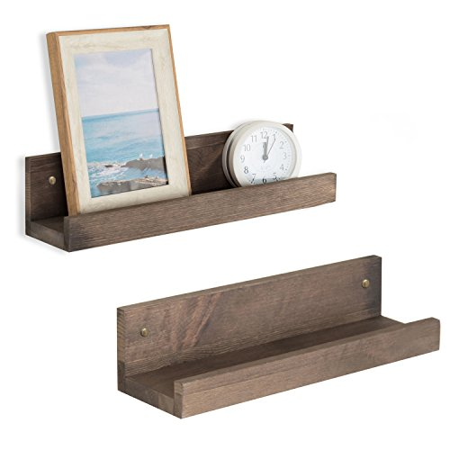 Cheap MyGift 16-Inch Espresso Brown Wooden Floating Shelves, Set of 2