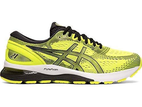 (ASICS Men's Gel-Nimbus 21 Running Shoes, 9.5M, Safety Yellow/Black)