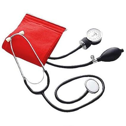 Pharmedics – Estetoscopio y tensiómetro de brazo con pera, color rojo
