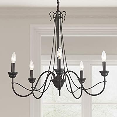 """LOG BARN 5 Lights French Country Shabby Chic Chandelier in Brown Rust Metal Finish, 26.8"""" Medium Dining Room Pendant Light Fixture, A03498"""