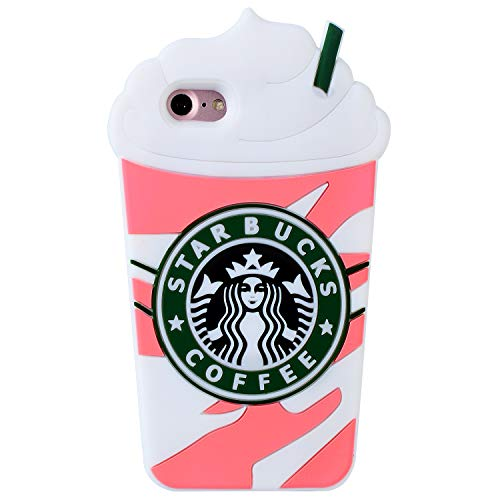 FunTeens Pink Coffee Cup Case for iPhone 8/7/6/ 6S 4.7