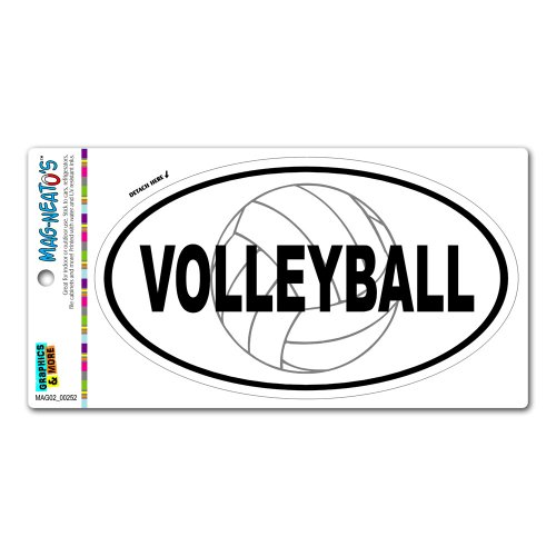 Graphics and More Volleyball Sand Beach Sports - Euro Oval Automotive Car Refrigerator Locker Vinyl -
