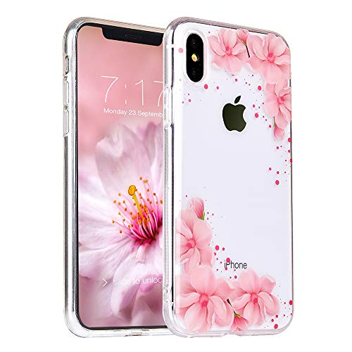 MURMAZ Floral Series for iPhone X case, Flower Summer Tropical Cute Design for Girls Woman [Hard PC Back + Soft Bumper] Slim fit Transparent Protective Cover(Pink Blossom X)