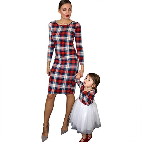 PopReal Mommy and Me Long Sleeve Plaid Tulle Dress Family Matching Clothes ()