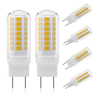 DiCUNO G8 4W Flat Base Bi-Pin LED Bulb, 40W Halogen Equivalent, 450LM, Warm White 3000K, Non-dimmable Replacement Bulb for Under Counter, Under-Cabinet Light and Puck Light, 6-Pack