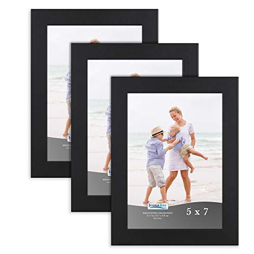 Icona Bay 5x7 Picture Frame (3 Pack, Black), Sturdy Wood Composite Photo Frame 5 x 7, Wall or Table Mount, Set of 3 Exclusives - Wood Frame 3x5