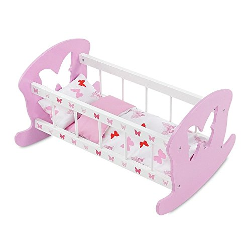 18 Inch Doll Furniture | Pink and White Rocking Baby Doll Cradle Bed, Includes Thick, Plush Bedding | Fits 18